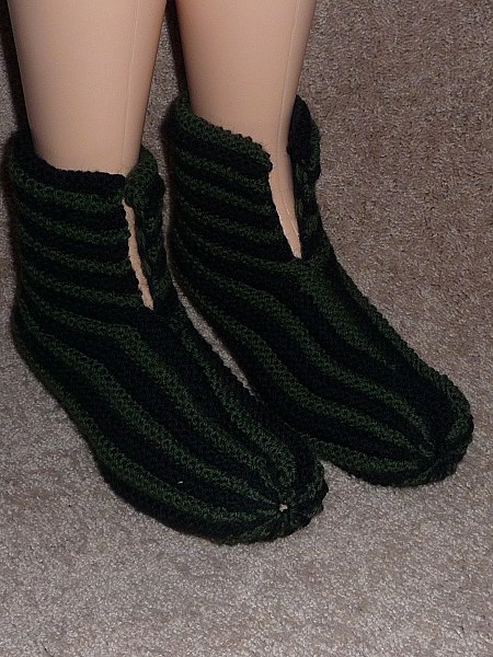 Hand knit Men's Boot Slippers